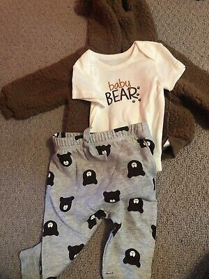 NWT The Children's Place Baby Boy 3 Piece Outfit Bear Jacket Bodysuit Pant 6-9 M
