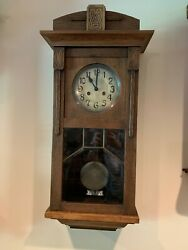 Antique / Vintage Mauthe German Regulator Wall Clock - Good Running Condition