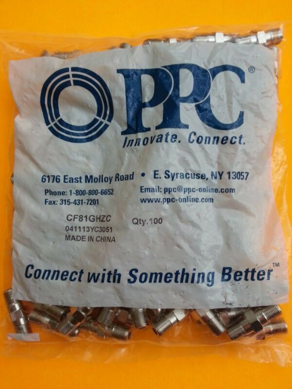 Lot 100 Barrel Coax Cable Connector Rg6 3ghz Ppc Outdoor Coaxial Directv Dish Hd