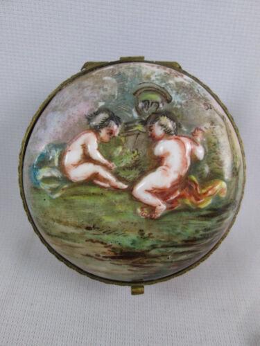 Antique Porcelain Trinket Pill Box Capodimonte Potschappel German Crown Putti