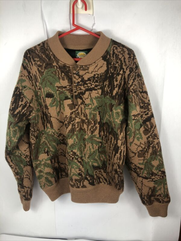 Cabelas Wool Wind Stopper Henley Sweater Brown Olive Camo Thick Lined Mens Sz L