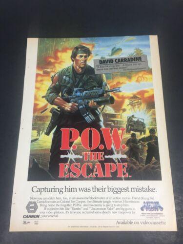 Vintage 1986 Print AD Video poster POW THE ESCAPE David Carradine like Rambo