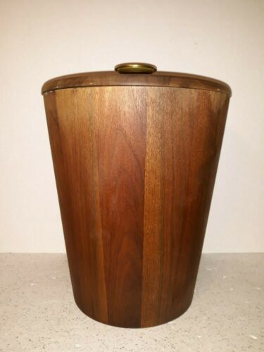 Vintage MCM Man Cave Liquor Bar Wooden Ice Bucket Champagne Mid Century Modern