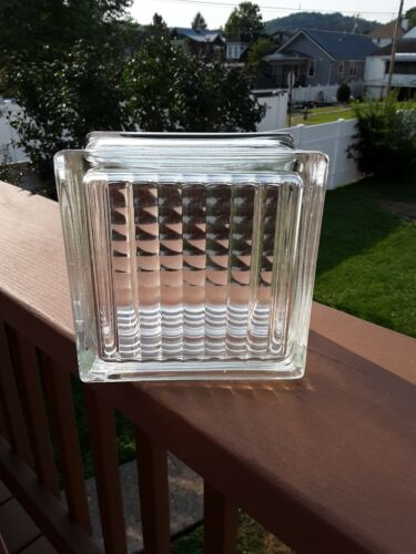 """Reclaimed Vintage Architectural Glass Building Block Ribbed 5.75"""" x 3.75"""" x5.75"""""""