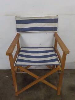 B28060 Timber Blue White Striped Fabric Fold Up Deck Chair Unley Unley Area Preview
