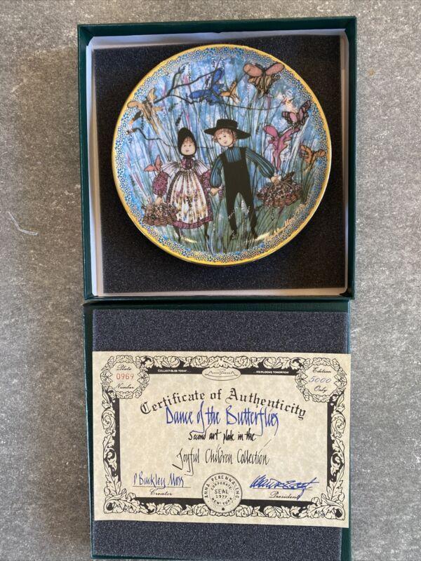 P. Buckley Moss DANCE OF THE BUTTERFLIES Second Art Plate Joyful Children # 0969