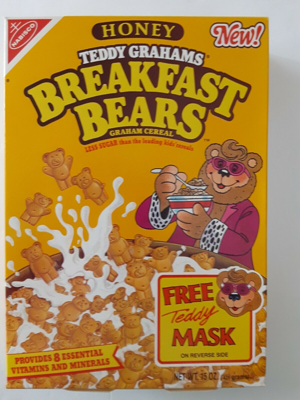 Nabisco Teddy Grahams Breakfast Bears Cereal 1990 Box Eddy Mask Back Excellent - $19.99