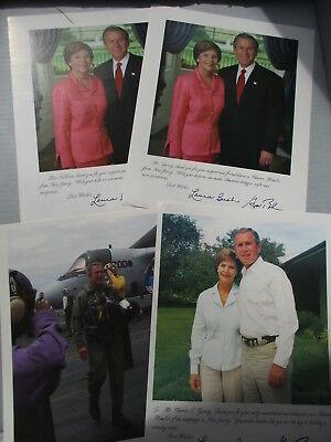 LOT OF 4 GEORGE W. & LAURA BUSH FACSIMILE AUTOGRAPH - 8X10 PHOTOS