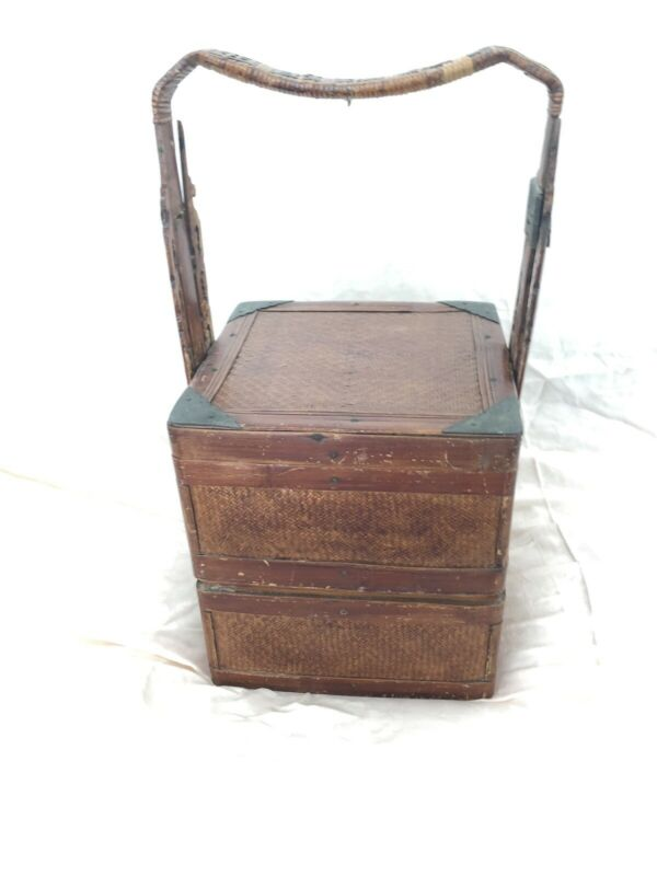 ANTIQUE CHINESE TWO TIER WOOD AND WICKER WEDDING BASKET