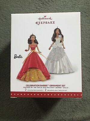 2015 Hallmark Celebration Barbie Ornament Set-2013 & 2014 Holiday African Amer.