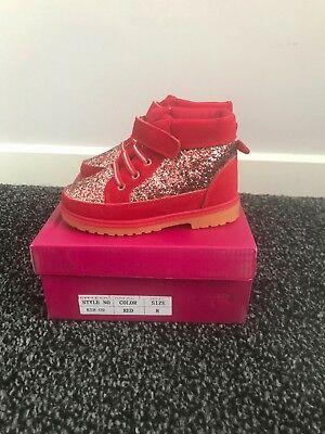 Kinder Mädchen Rot Glitter Kinder Glitzer Winter Smart Turnschuhe Stiefel
