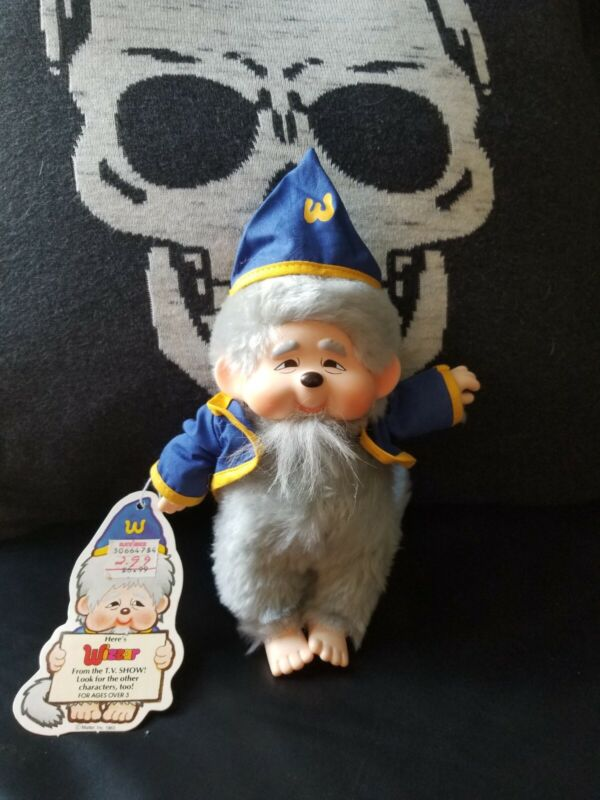RARE Vintage 1983 Mattel MONCHHICHI WIZZAR Toy Plush Wizard Doll With Tags Toys