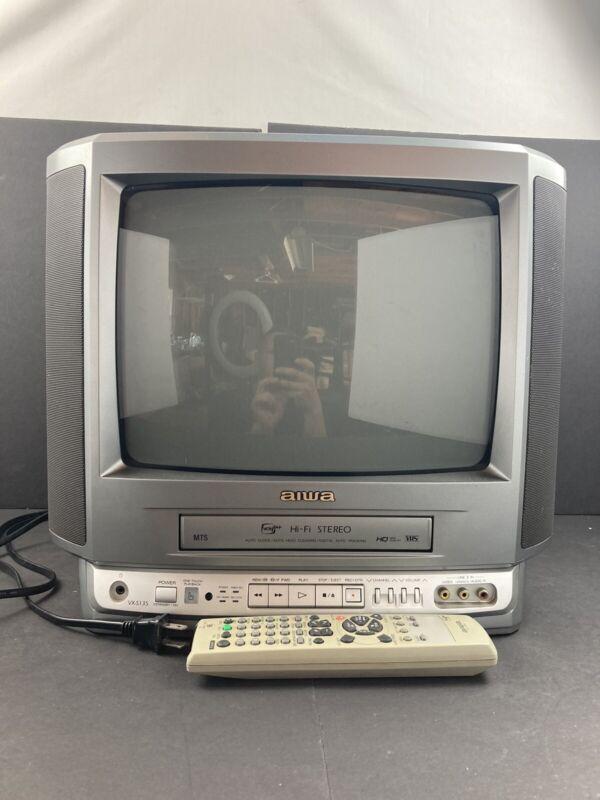 "13"" Aiwa VX-S135U Retro Gaming TV VCR Combo TV W/remote AV Inputs Tested Works"