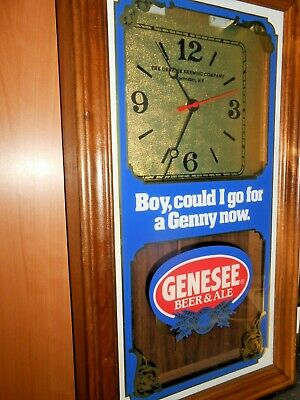 Vintage 1960 Genesee game room man cave DRAFT BEER ALE BAR Clock Lighted Sign