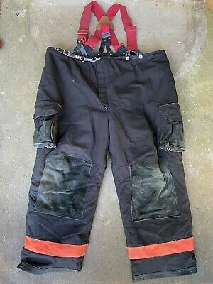 Used Janesville Lion Black Firefighter Bunker Pants Size 50x18 With Suspenders
