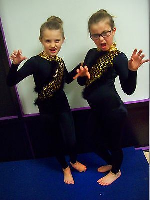 Fina Dance costume Cat black unitard with gold sequin marabou feathers Child M](Cat Unitard Costume)