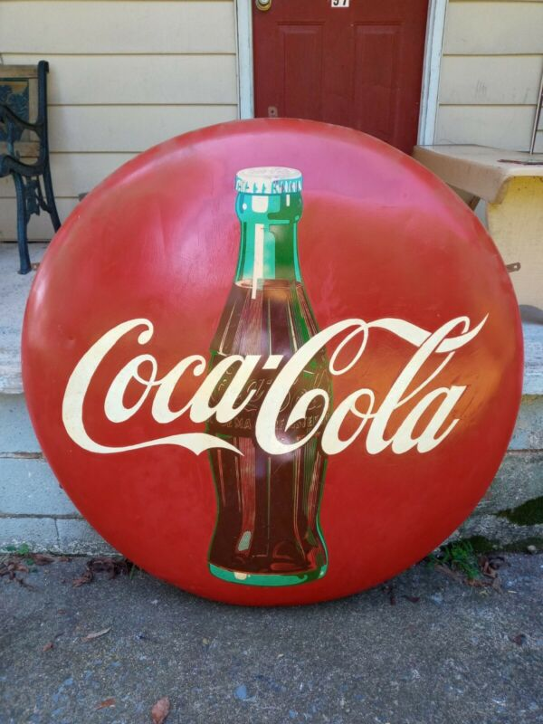 "VINTAGE 1955 ADVERTISING METAL COCA COLA BUTTON SIGN 48"" wmounting n wood brack"
