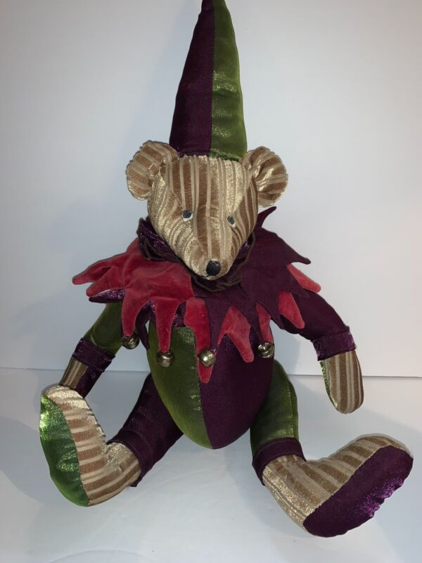 """Mark Roberts Collection Christmas Holiday Jester Teddy Bear 20"""" Green & Purple"""
