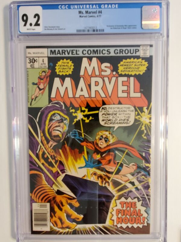MS. MARVEL #4 (CGC 9.2) 1977 DESTRUCTOR & DOOMSDAY MAN APPEARANCE; BRONZE AGE