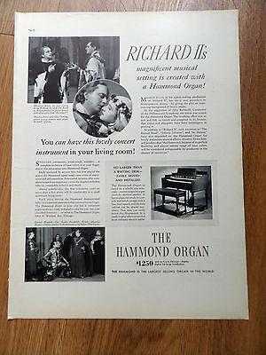 1937 Hammond Organ Ad  Richard II's Magnificent Musical Setting