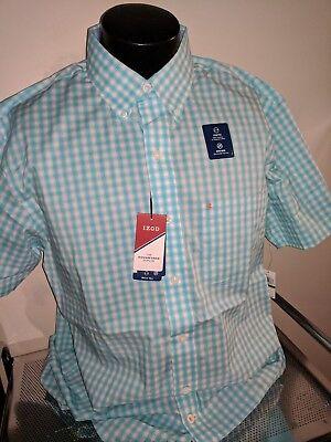 IZOD Men's Casual/Dress Shirt S/S Plaid Multi-Color Sharp!  BIG AND TALL   LT - Big And Tall Men ' S Dress Shirts