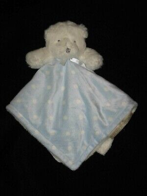 Blankets & Beyond Blue White Teddy Bear Security Baby Lovey Polka Dots