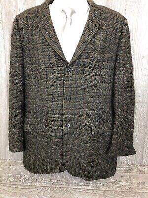 Harris Tweed Mens Grey Plaid Scottish Wool Sport Coat Jacket 44R (t20)