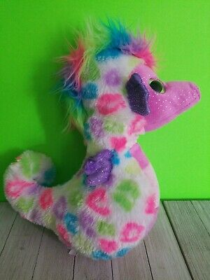 Petting Zoo Sea Horse Plush Stuffed Animal turquoise pink Sparkles 13
