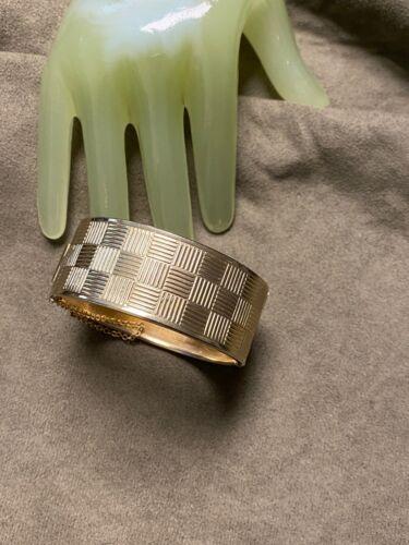 """Vintage 1"""" Wide Goldtone Cross Pattern Woven Hinged Cuff Style Bracelet - ZJ"""