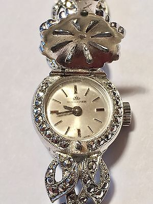 Art Deco Ladies Wristwatch Bucherer .800 Fine Silver Marcasite Watch 17 Jewels