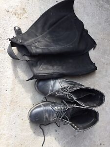 Riding boots and chaps size 4