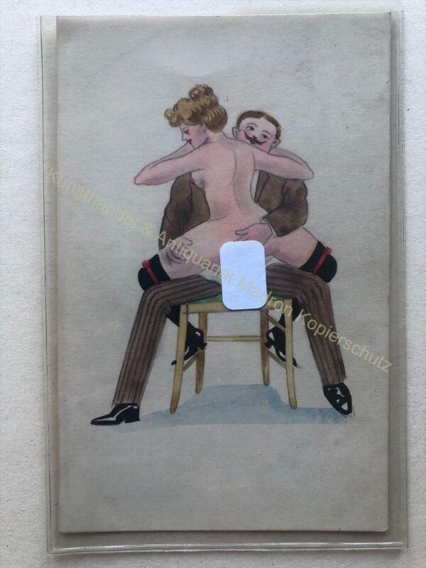 AK Ansichtskarte Erotik Geschlechtsakt, 1905, Zeichnung unikat