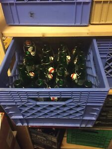 7 milk crates of grolsch pop top beer bottles.