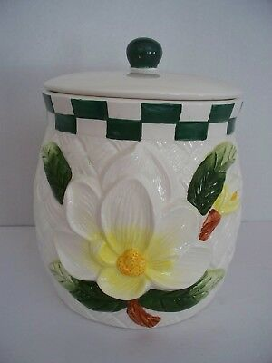 Young's 1996 MAGNOLIA Flower Ceramic Cookie Jar Canister Spring