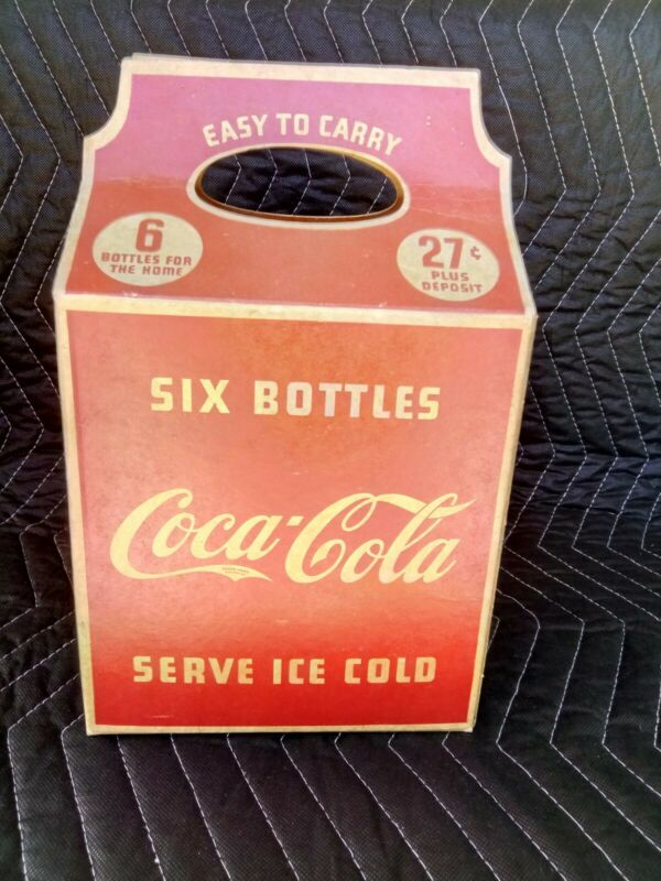 Vintage Coca Cola Cardboard 6 Pack Carrier Carton Sign 1930's