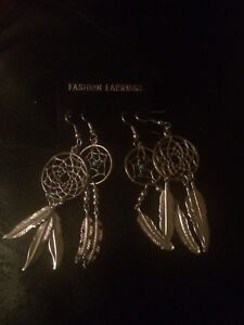 Two pairs of dream catcher earings