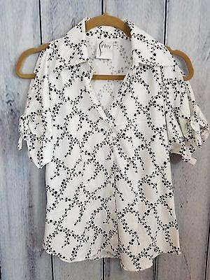 Finley Women's Size Small Blouse Cold Shoulder White Black Top Shirt