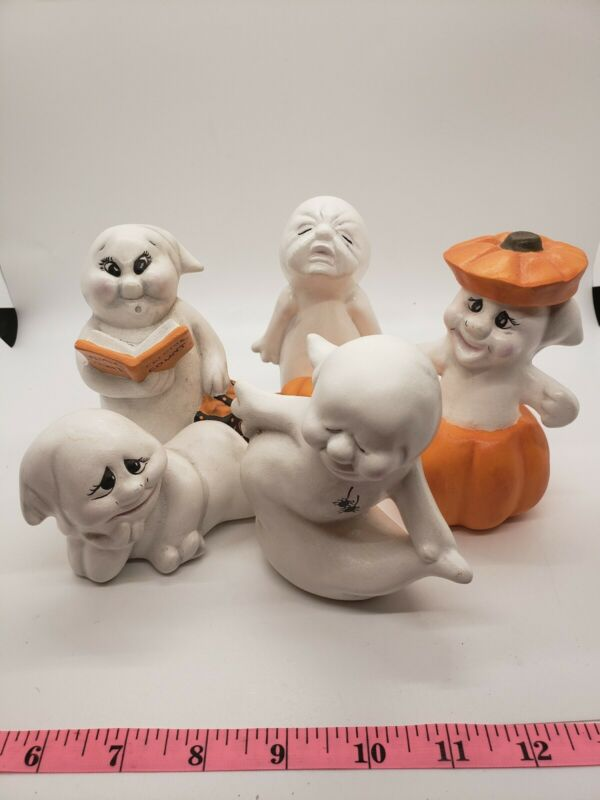 5 Adorable Halloween Ceramic Ghost Ghosts Pumpkin Figurine Mold 1993 Handpainted
