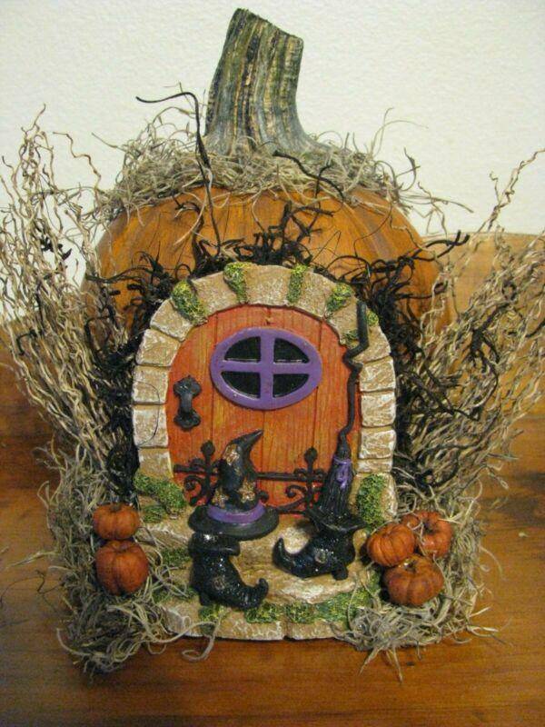 HALLOWEEN FAIRY Garden PUMPKIN HOUSE Resin DOOR Witch Boots Hat REAL STEM OOAK