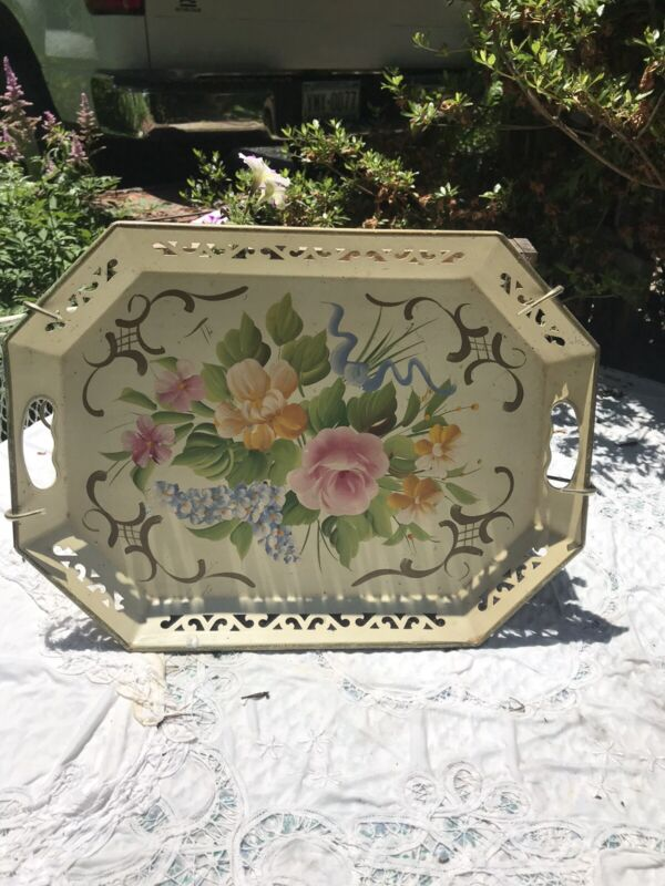 "Vintage 18""x13"" Tole Metal Serving Tray w/ Hand Painted Floral Design"