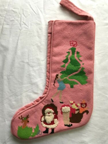 Vintage Completed Handmade Needlepoint Pink Girl 3D Christmas Stocking Rare