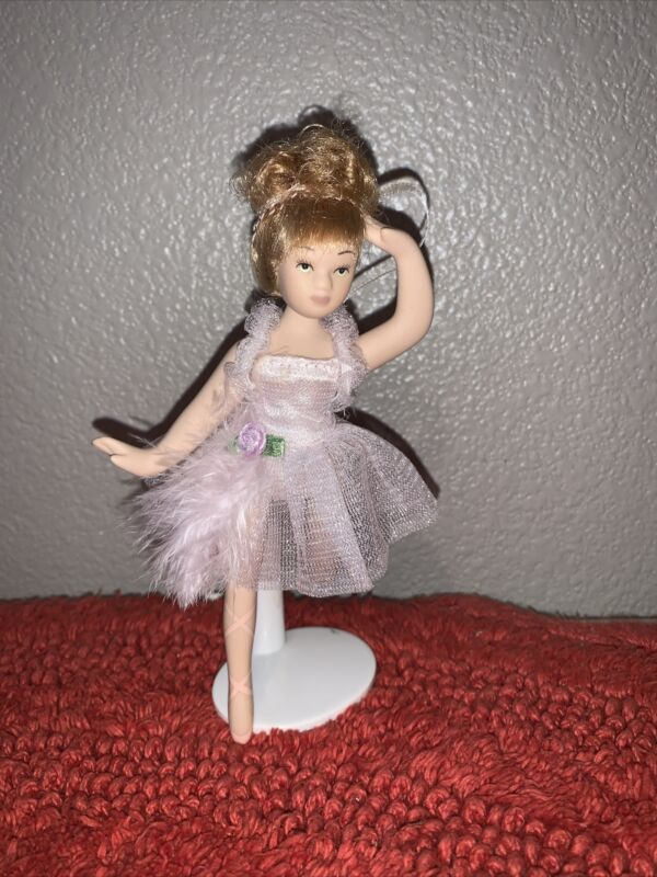 """Porcelain BALLERINA DOLL 6"""" Tall WITH STAND"""