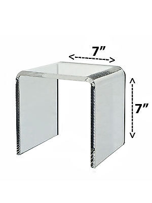 Clear Acrylic Cube Counter Top Riser Jewelry Makeup Display Stand 7x7
