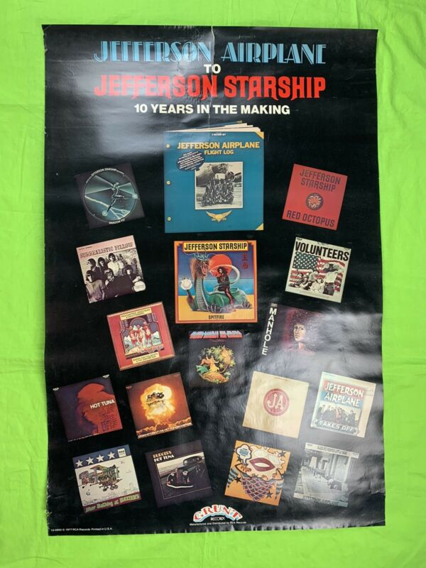 Jefferson Airplane To Jefferson Starship Poster 1977 10 Years The Making 35x23