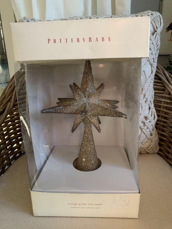 Pottery Barn German Star Tree Topper Crush Glass Gold Glitter Christmas Holiday
