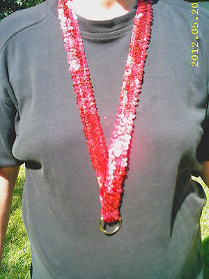 SEQUINED RED LANYARD for Work or Your Collectable Pins Great for Christmas  NEW
