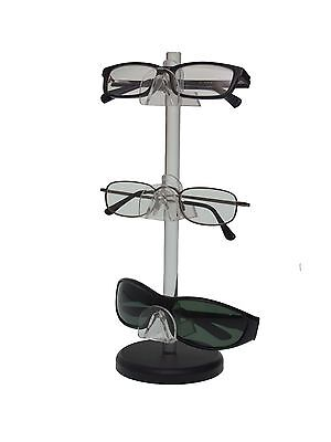 Acrylic 3 Tier Sunglasses Eyeglasses Display Stand With Black Base Nose Glasses