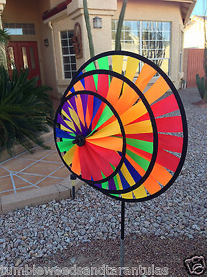Wind Spinner Rainbow Triple Wheel Windmill / Yard / Vegetable Garden for X-Bird