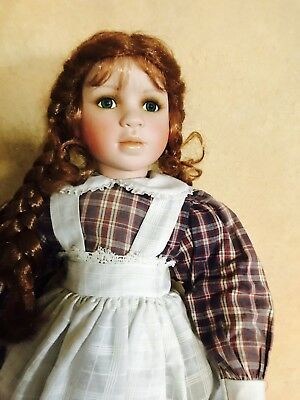 "25"" Realistic Porcelain School Girl Doll- Red Hair/Freckles By Linda Mason"