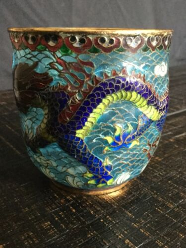 """Antique Chinese Dragon Glass cup 3"""""""" with metal trim"""
